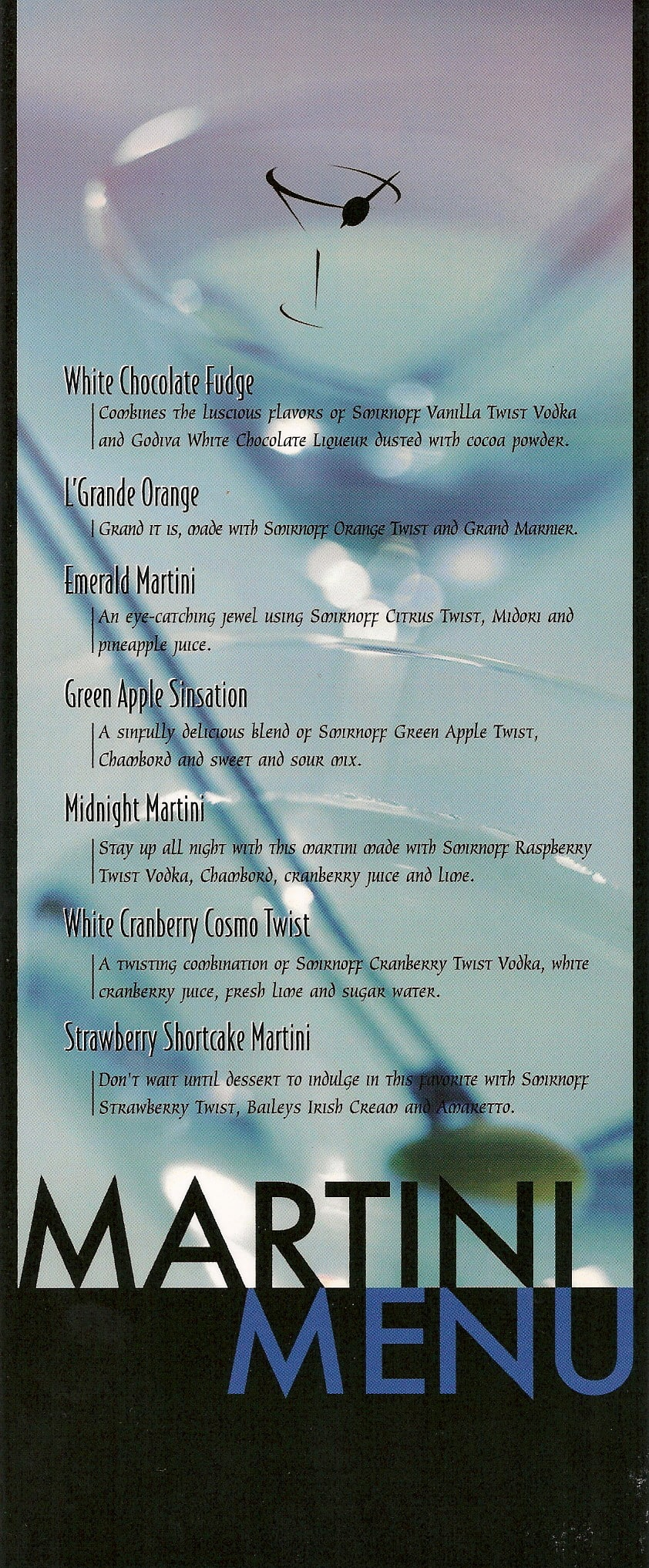 DIAGEO Martini Menu Drinks