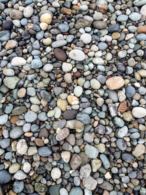 multicolored pebbles on the beach